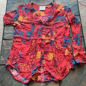Maeve Long Sleeve Red Floral Print Button Down